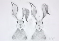 Harry and Hattie in Love Sketch II by Jennifer Hogwood -  sized 17x12 inches. Available from Whitewall Galleries